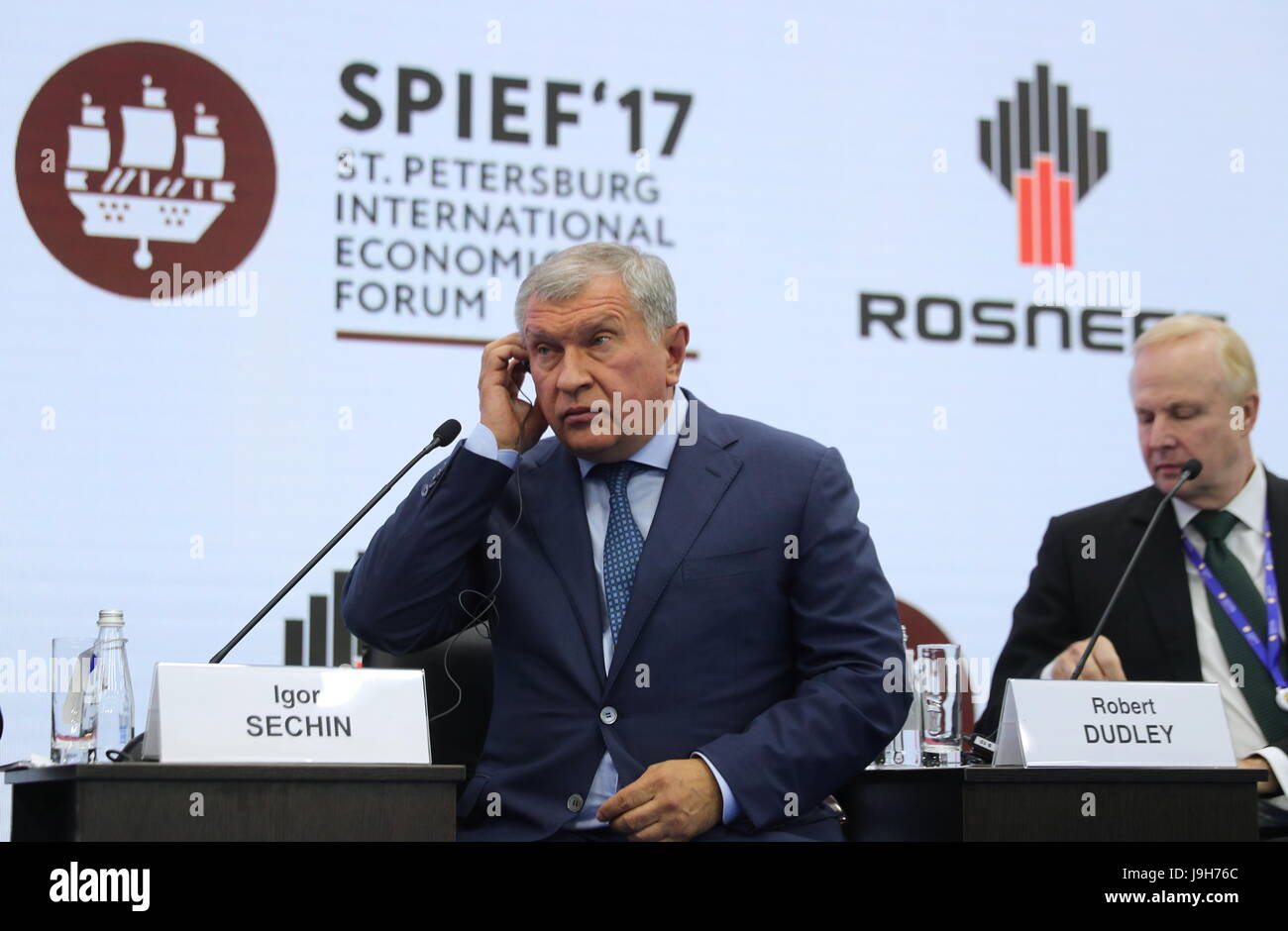 St Petersburg, Russia. 2nd Jun, 2017. Rosneft CEO and Management Board Chairman Igor Sechin (L) and BP Group Chief - Stock Image