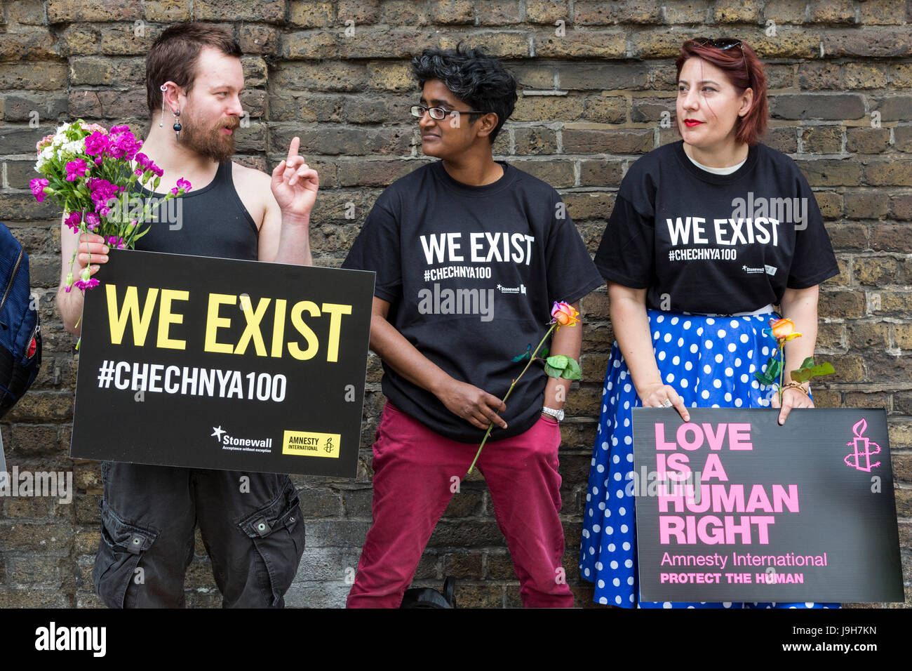 London, UK. 2nd June, 2017. Amnesty International actvists stage a 'We Exist' protest outside the Russian - Stock Image
