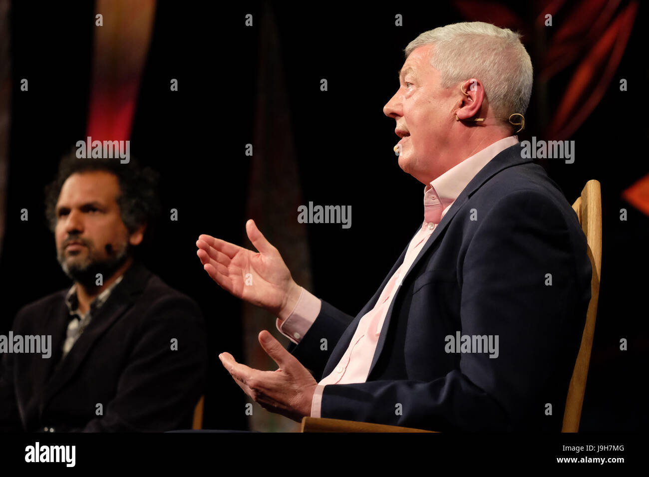 Hay Festival 2017 - Hay on Wye, Wales, UK - Friday 2nd June 2017 - Alan Johnson former Labour politician on stage - Stock Image