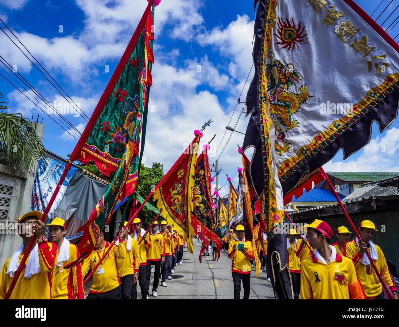 Samut Sakhon, Samut Sakhon, Thailand. 2nd June, 2017. The parade for the City Pillar Shrine in Samut Sakhon. The Stock Photo