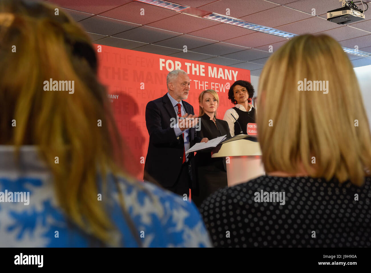 York, UK. 2nd June, 2017. Labour leader Jeremy Corbyn visits York Science Park ahead of a live edition of BBC Question - Stock Image