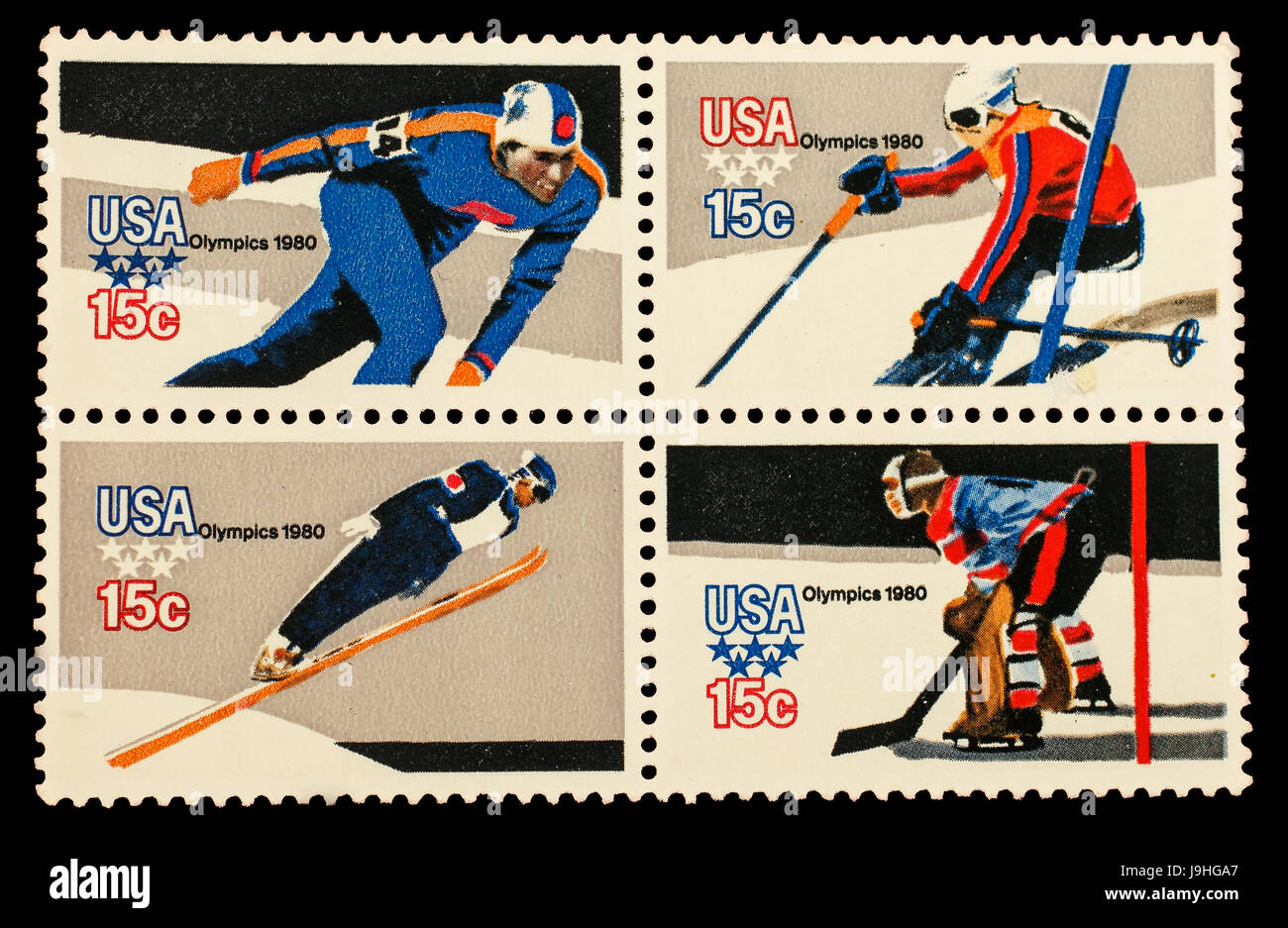 Sheet of four American 15 cent stamps commemorating the 1980 Winter Olympics. - Stock Image