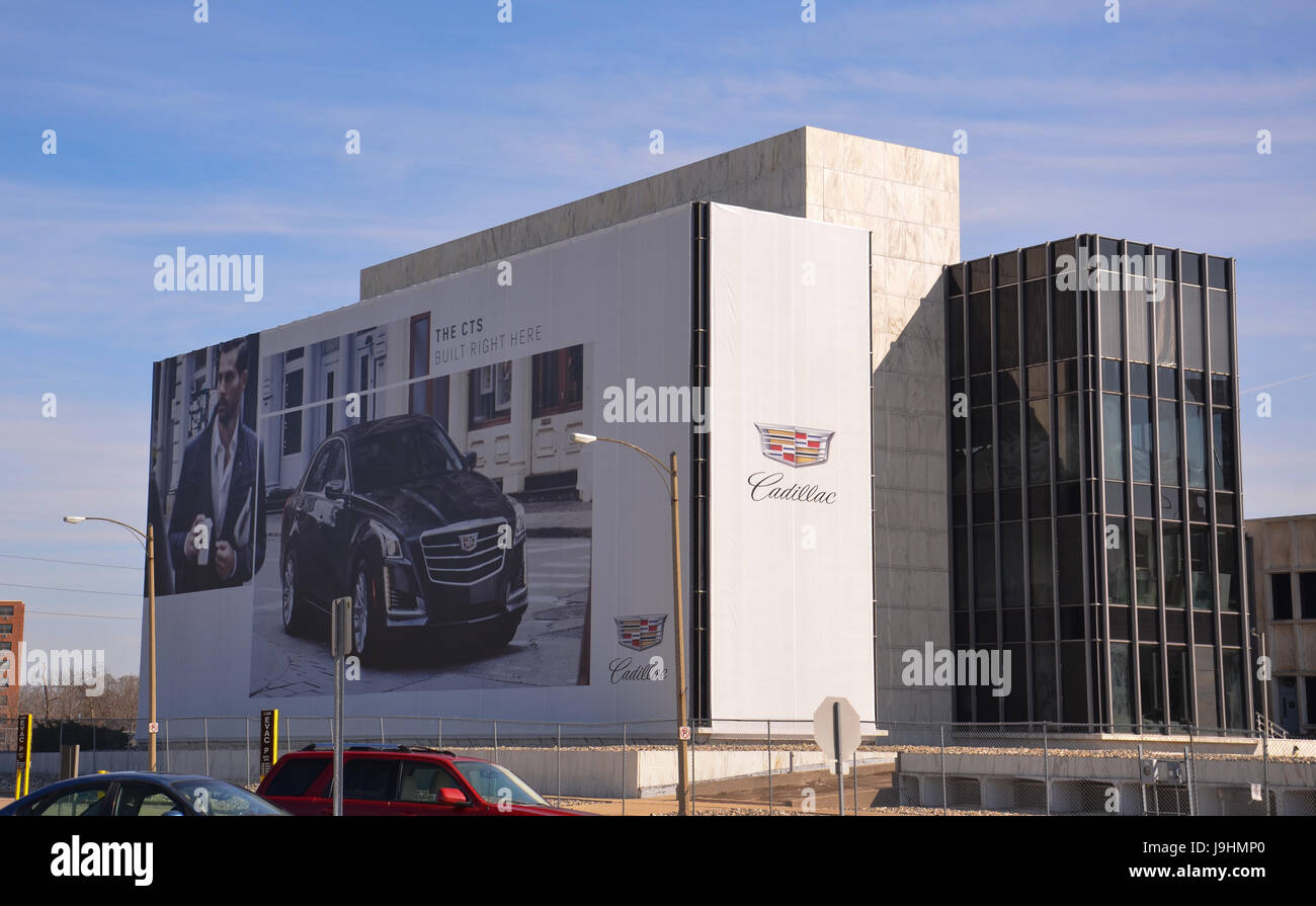 LANSING, MI - MARCH 26:  GM's Lansing Grand River Assembly plant, shown here on March 26, 2016, houses the Camaro, - Stock Image