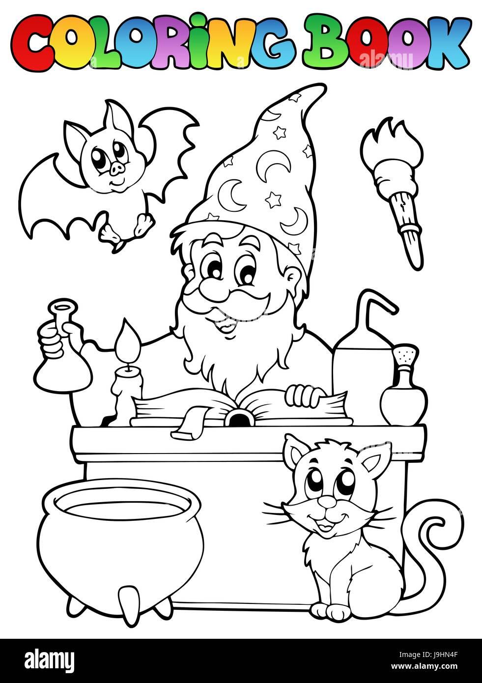 colour, paint, painted, alchemist, colouring, alchemy, book, desk, story, art, - Stock Image