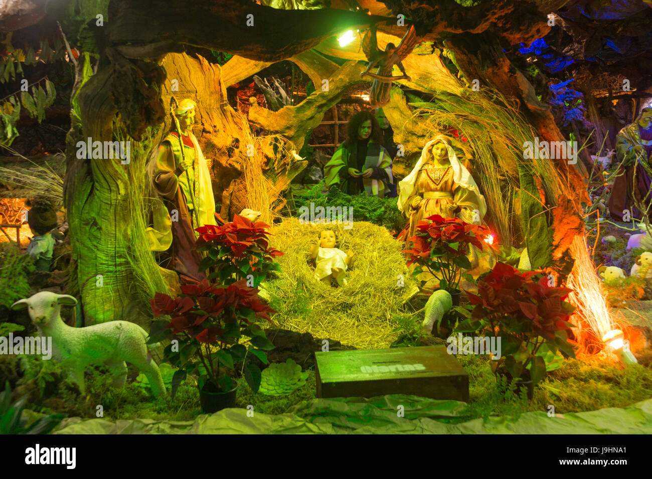 A nativity scene, part of a much larger elaborate display at Curral das Freiras, Madeira - Stock Image