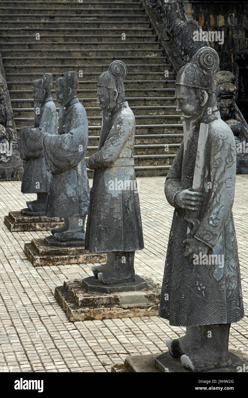 Stone Mandarin Honor Guards at Tomb of Khai Dinh, Hue, North Central Coast, Vietnam - Stock Image