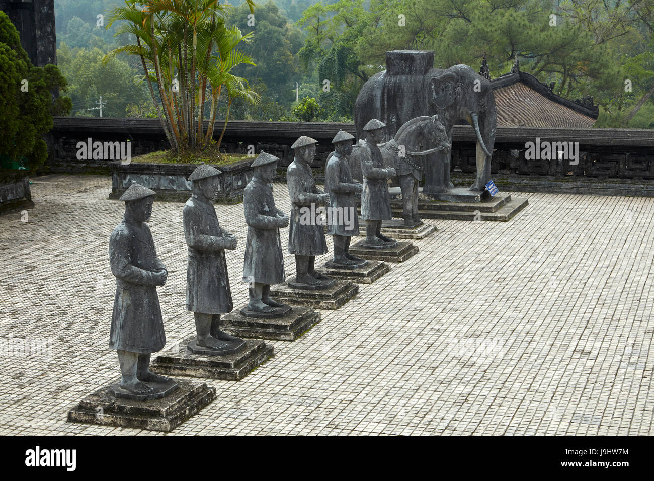 Stone Mandarin Honor Guards at Tomb of Khai Dinh, Hue, North Central Coast, Vietnam Stock Photo