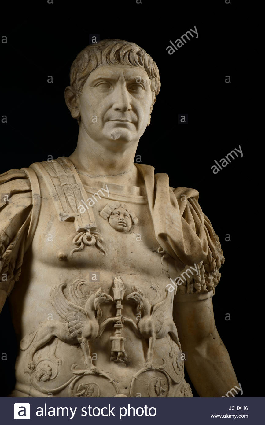 A statue of Trajan, wearing imperial battle dress, who ruled from A.D. 98 until 117. - Stock Image