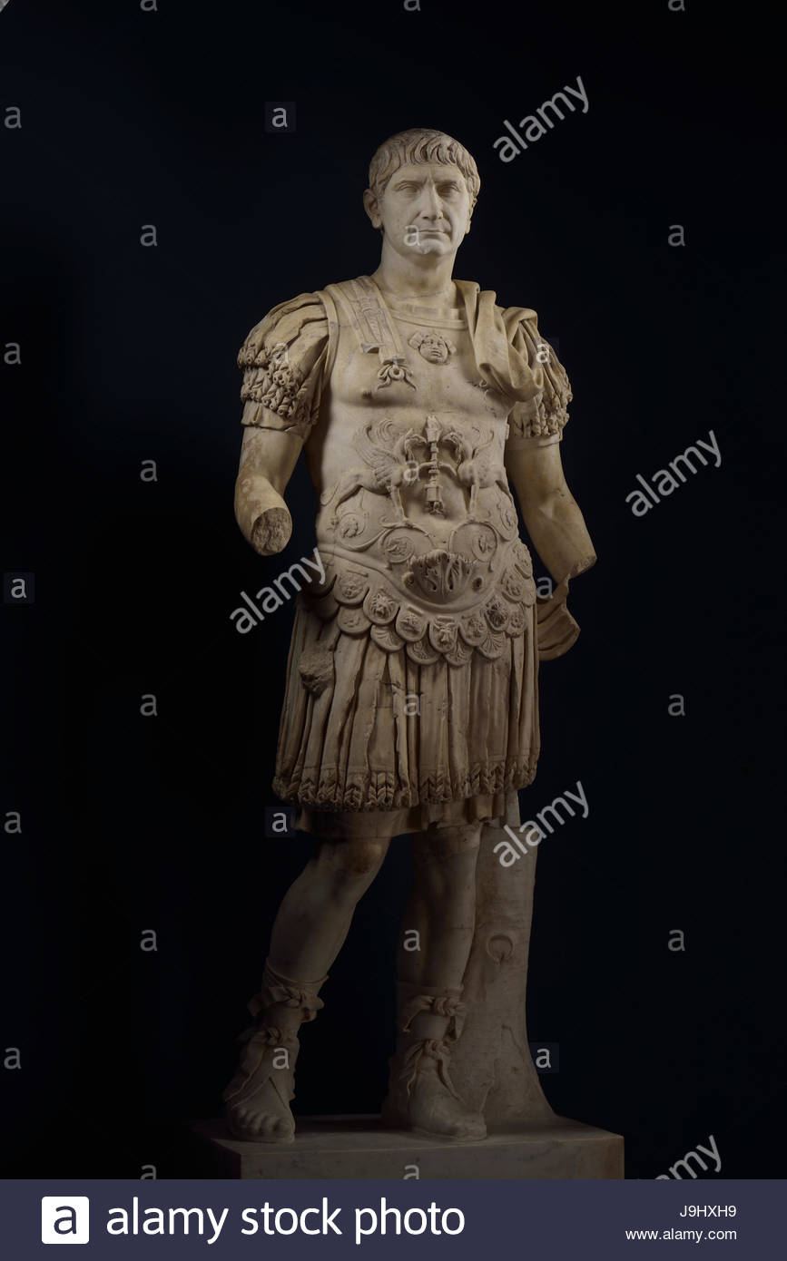 A broken statue of Trajan, who ruled from A.D. 98 until 117, expanding the Roman Empire to its farthest boundaries. - Stock Image