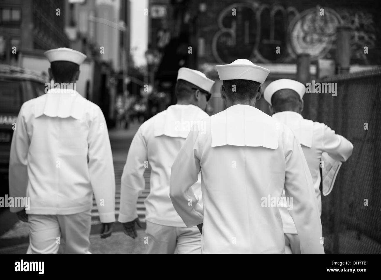 A group of seaman recruit walking in New York City - Stock Image