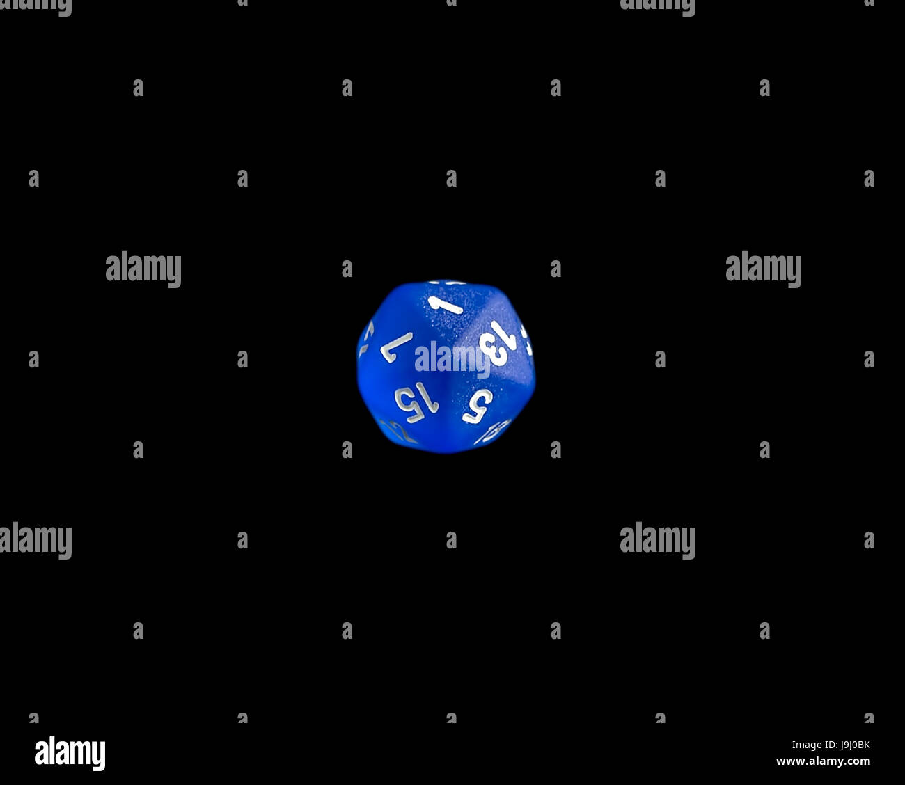 Blue d20 critical failure roll RPG polyhedral game dice - Stock Image
