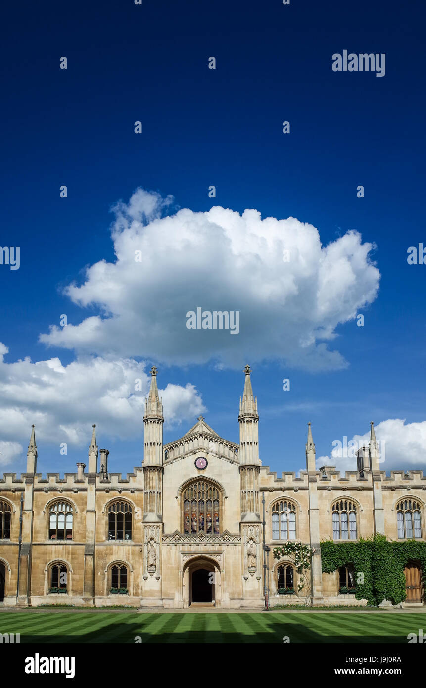 The New Court of Corpus Christi College, part of the University of Cambridge UK. The college was founded in 1352 - Stock Image