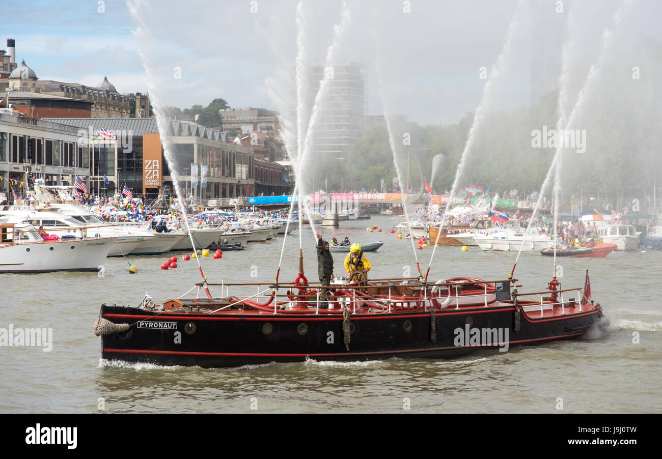 Bristol, England - July 17, 2016: The 1930s Bristol Docks fireboat Pyronaut sprays water during a display at the - Stock Image