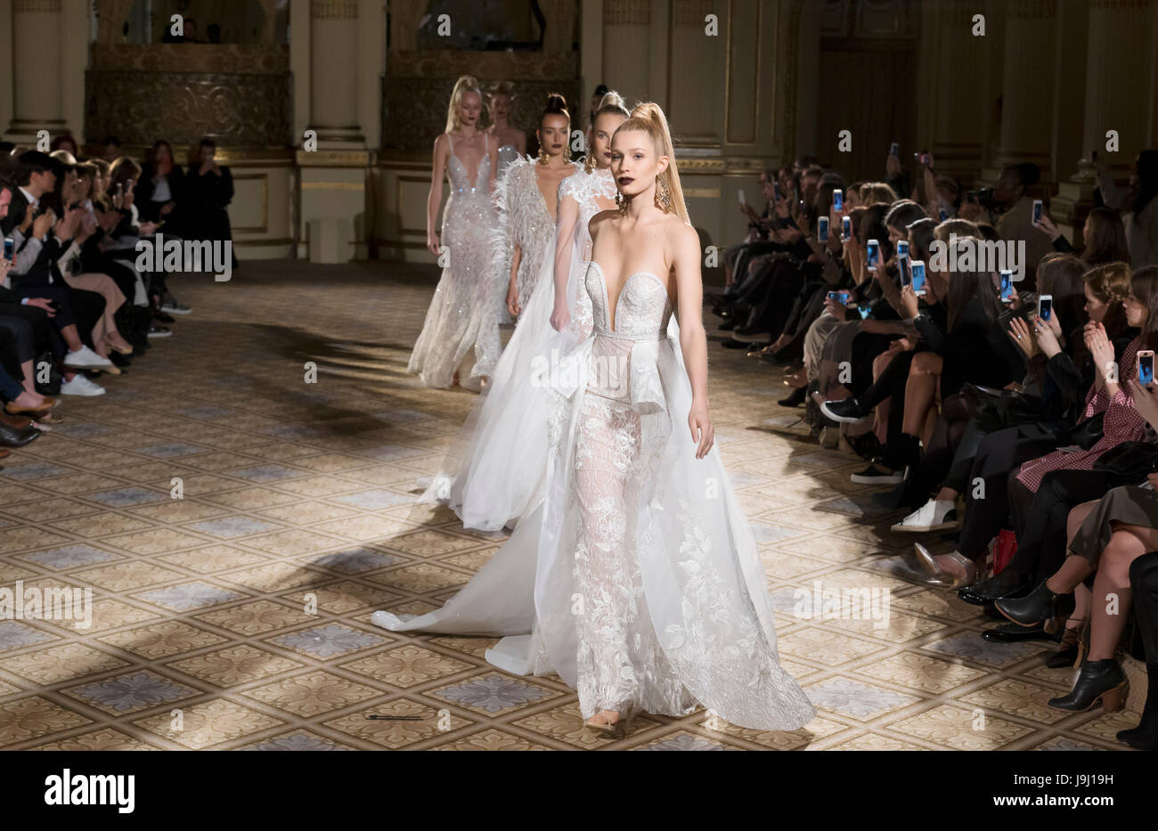 60be1d813 NEW YORK, NY - April 21, 2017: Models walk the runway at the Berta Bridal  Spring 2018 Collection Runway Show during NY Fashion Week Bridal