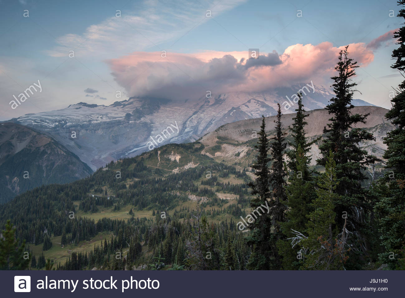 Lenticular clouds obscure the summit of Mount Rainier. - Stock Image