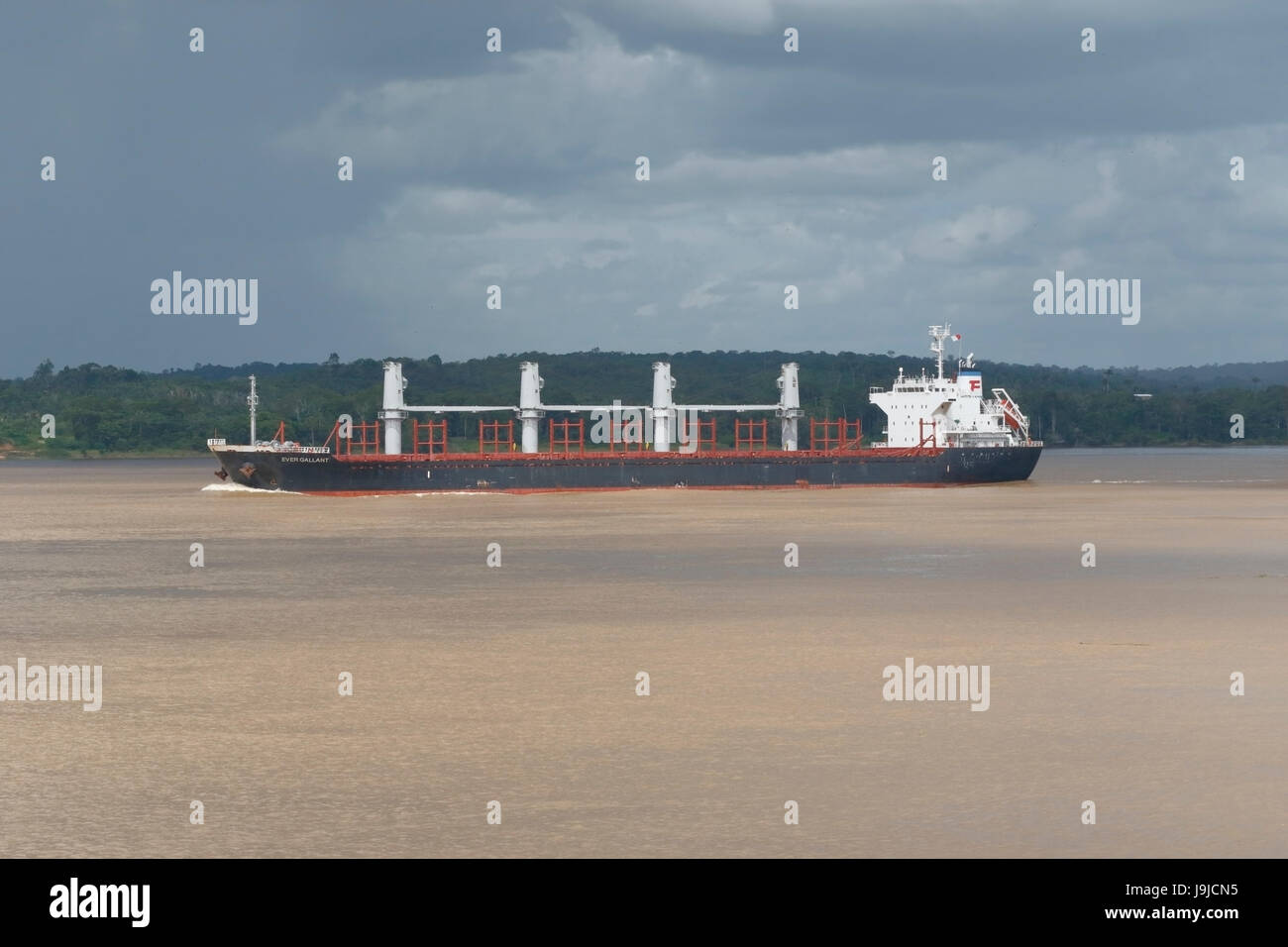 bulk carrier Ever Gallant on river Amazon, Brazil - Stock Image