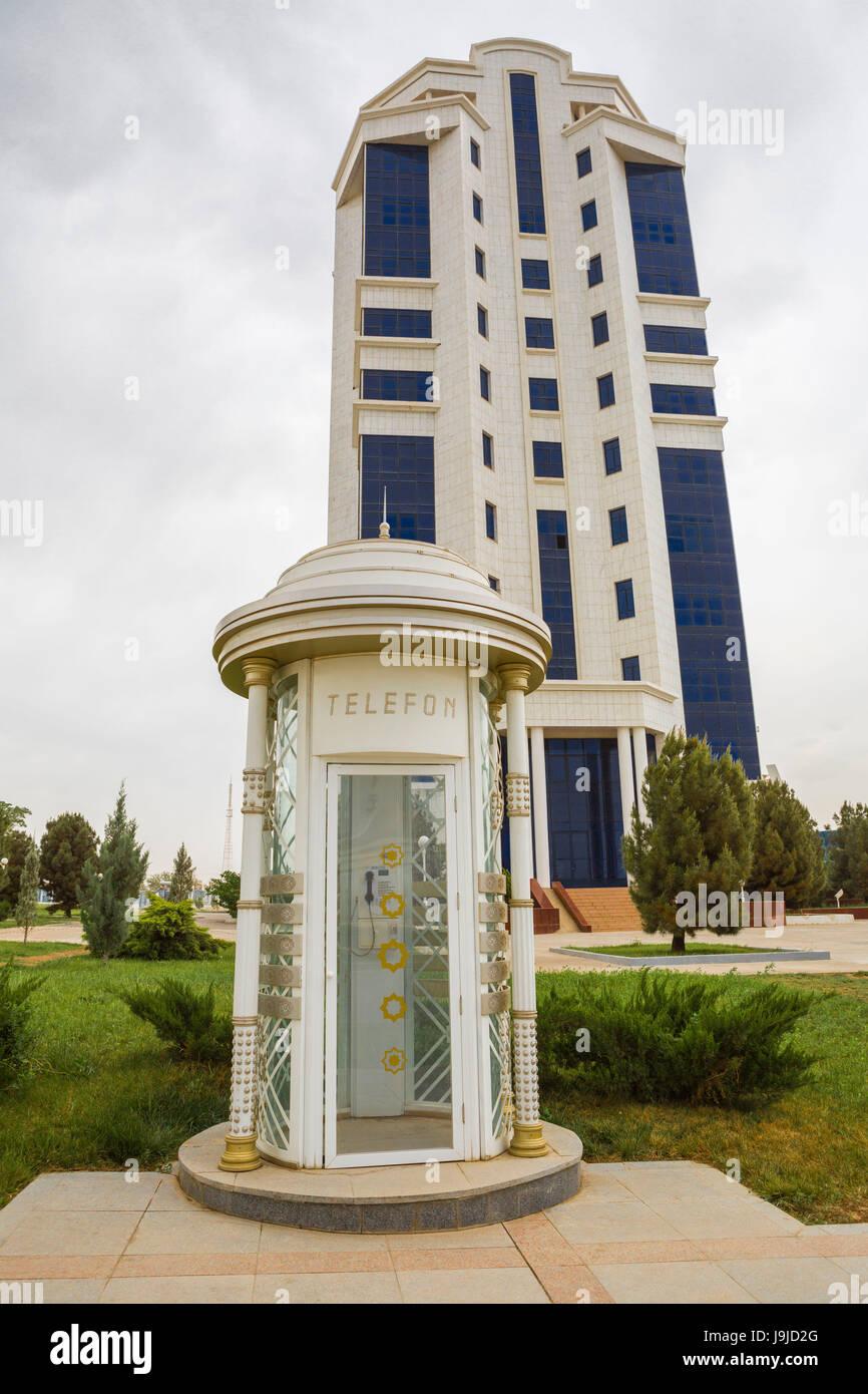 Turkmenistan, Ashgabat City, Telephon booth - Stock Image