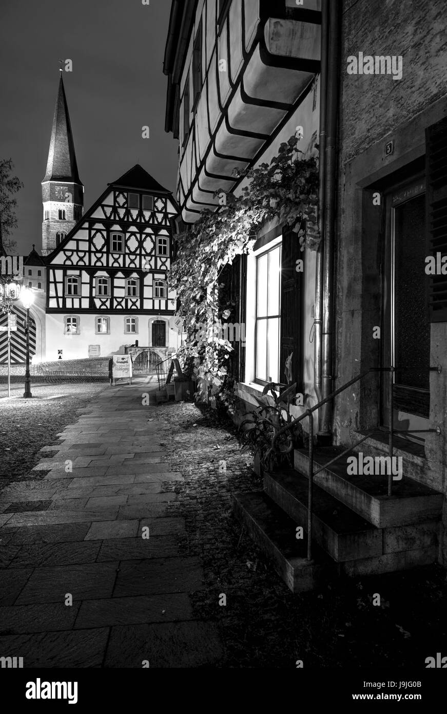 cultural theatre, way, blue hour, Münnerstadt, Lower Franconia, Franconia, Bavaria, Germany, Europe - Stock Image