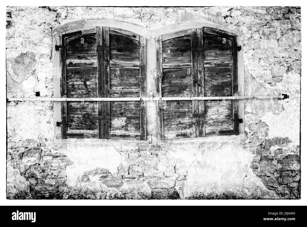 Window, house facade, Münnerstadt, Lower Franconia, Franconia, Bavaria, Germany, Europe - Stock Image