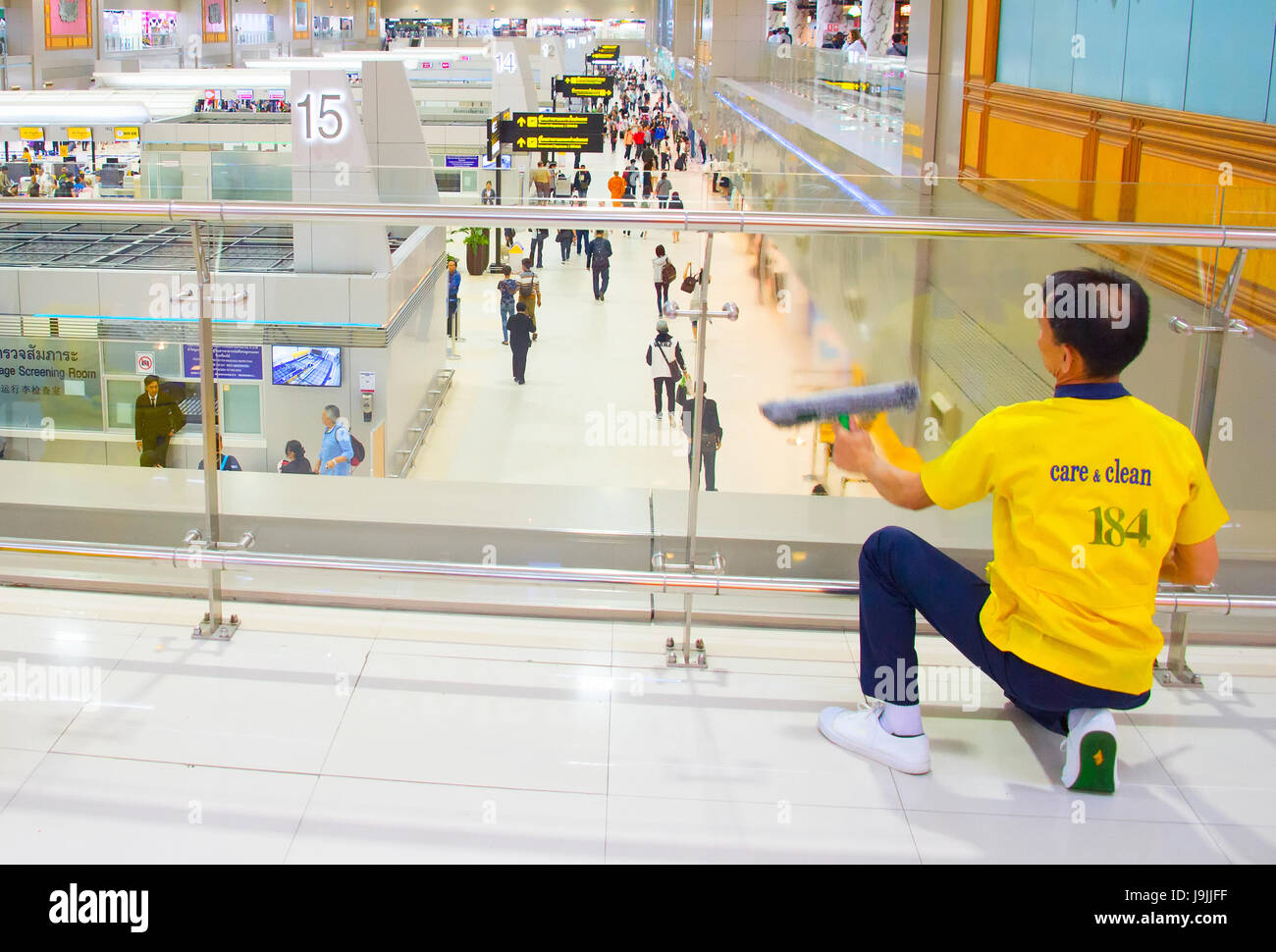 BANGKOK, THAILAND - JAN13, 2017: Cleaning service at work in the Don Mueang International Airport . The airport Stock Photo
