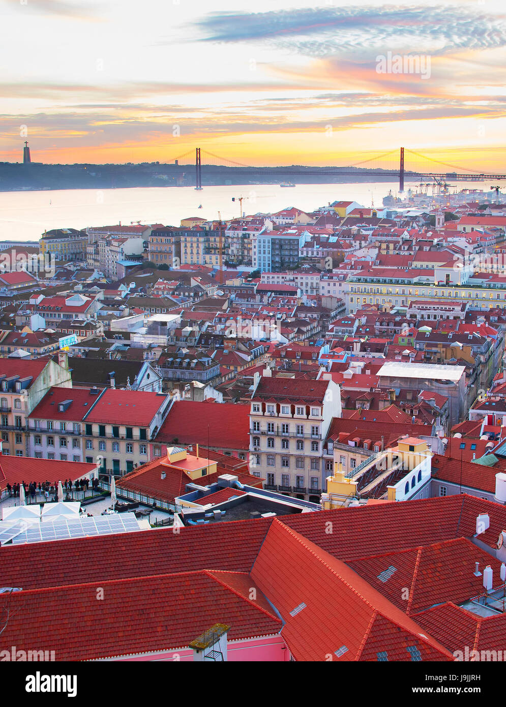 Lisbon Old Town view in the beautiful sunset. Portugal - Stock Image