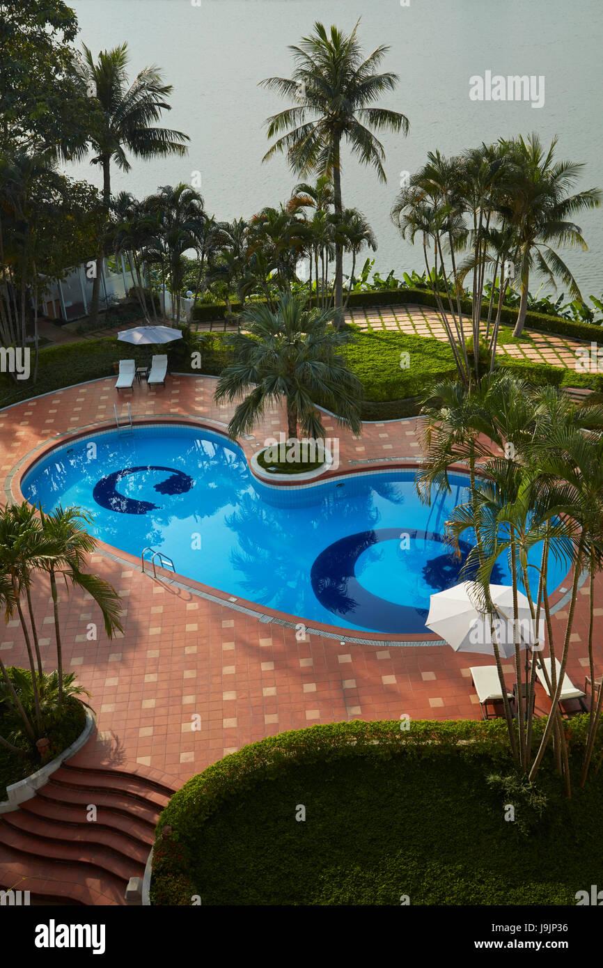 Swimming Pool, Century Riverside Hotel, Hue, Thua Thien-Hue Province, North Central Coast, Vietnam Stock Photo