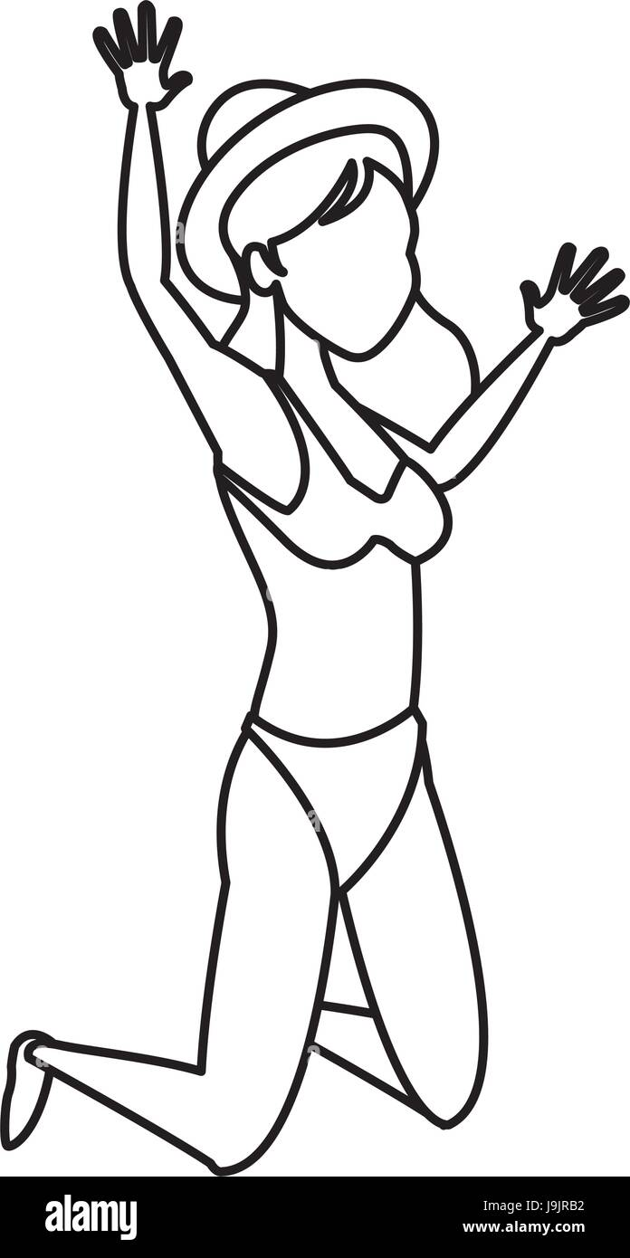happy bikini woman jumping for joy tropical vacation vector illustration - Stock Image