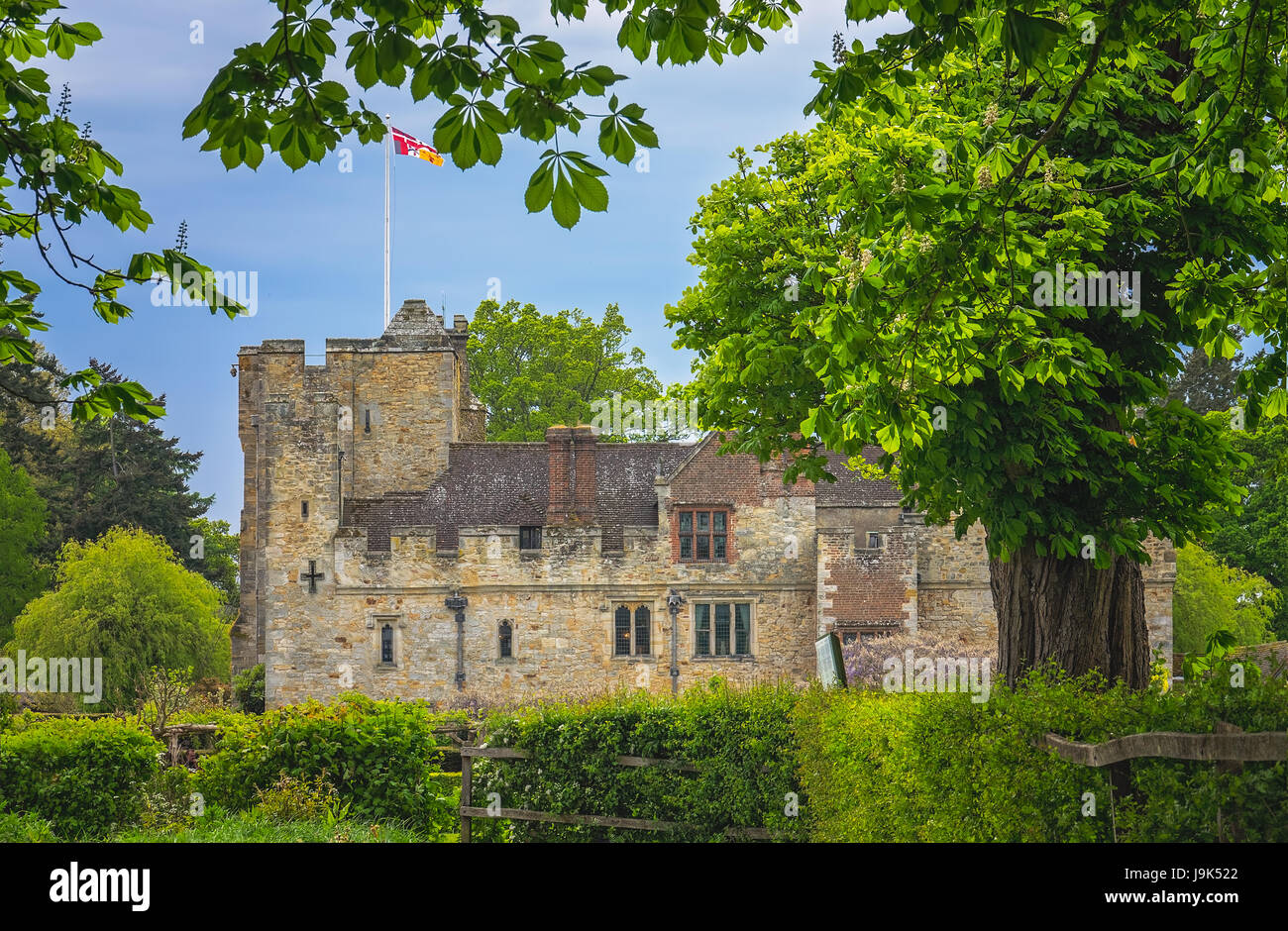 Hever Castle, England -  April 2017 : Hever Castle  located in the village of Hever, Kent, built in the 13th century, - Stock Image
