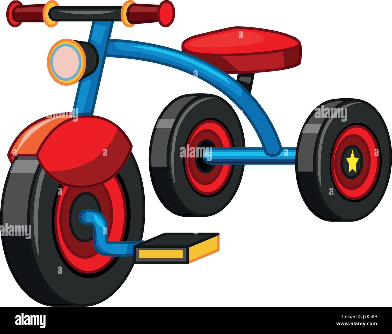Tricycle with blue and red color illustration - Stock Image