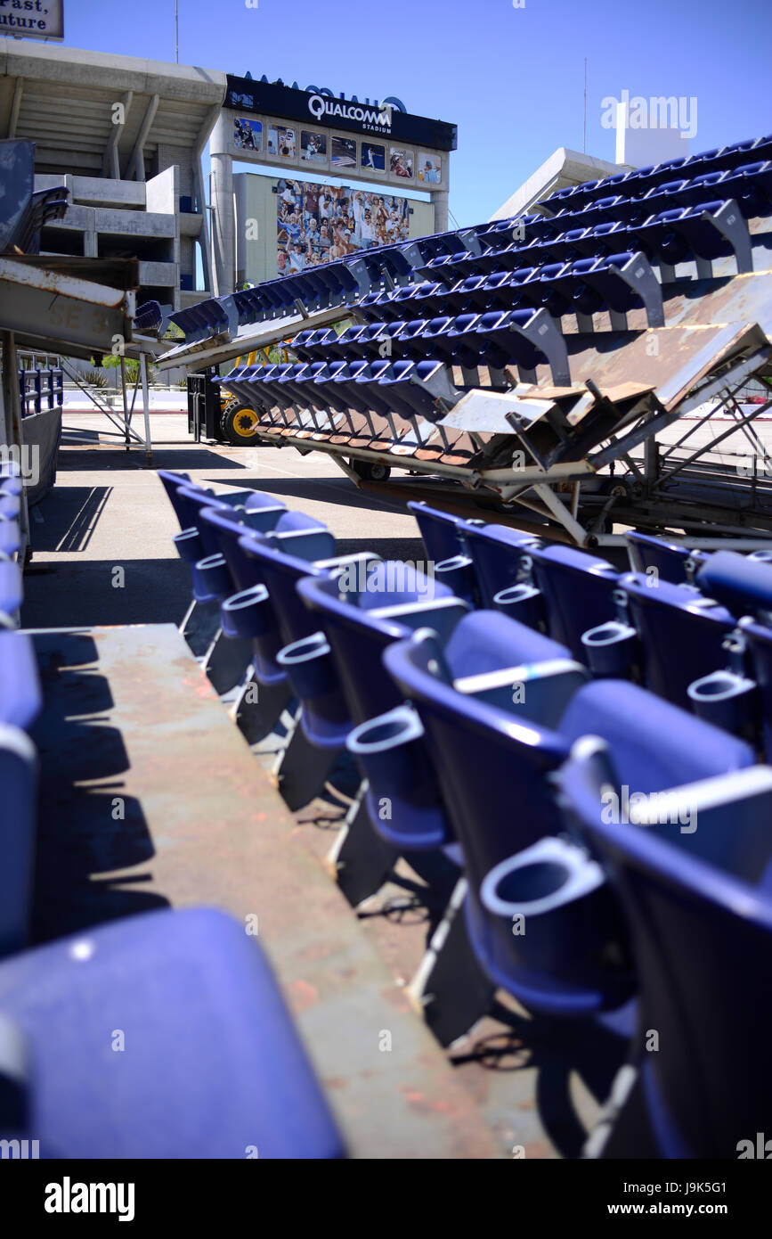 Rows of bleacher seats in the parking lot of Qualcomm Stadium in San Diego, California - Stock Image