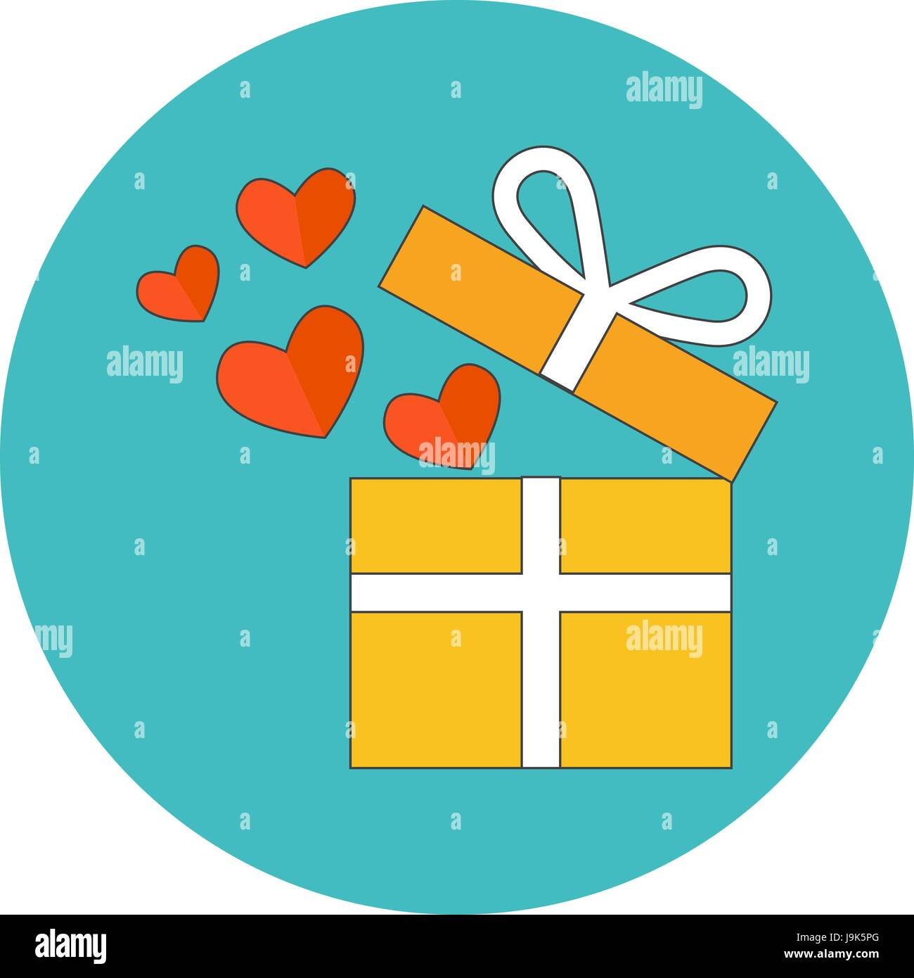 Open gift box with flying hearts flat design icon in turquoise open gift box with flying hearts flat design icon in turquoise circle on white background negle Images