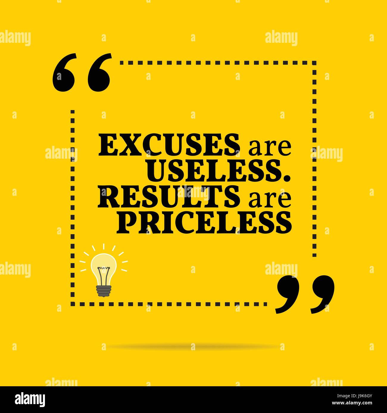 7a2452694ae4 Inspirational motivational quote. Excuses are useless. Results are priceless.  Simple trendy design.