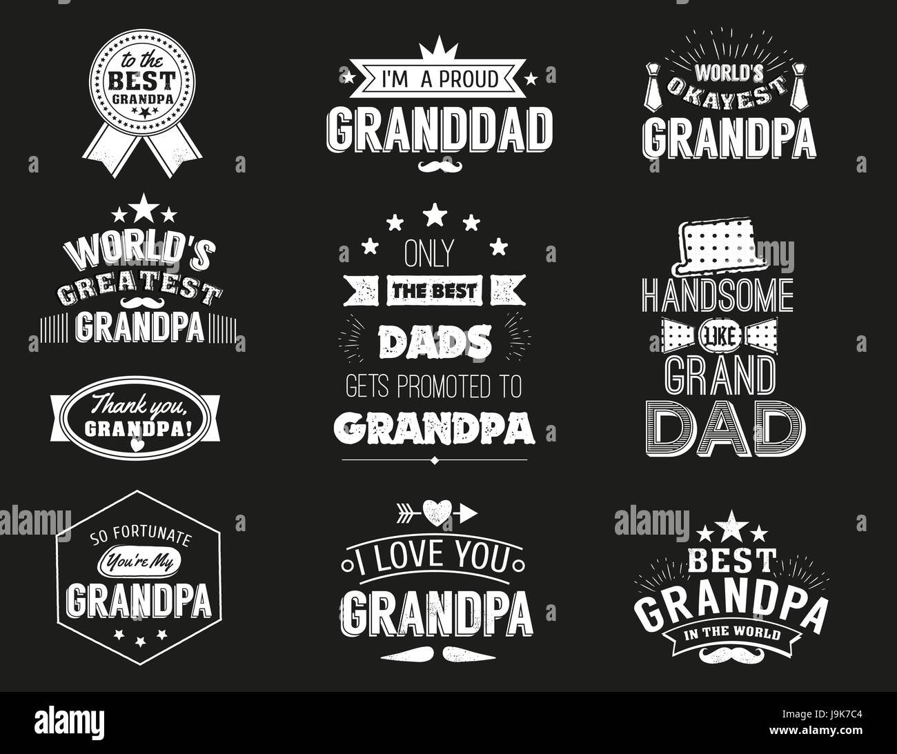 Isolated Grandfathers quotes on the black background. Grandpa congratulation label, badge vector collection. Granddads Stock Vector