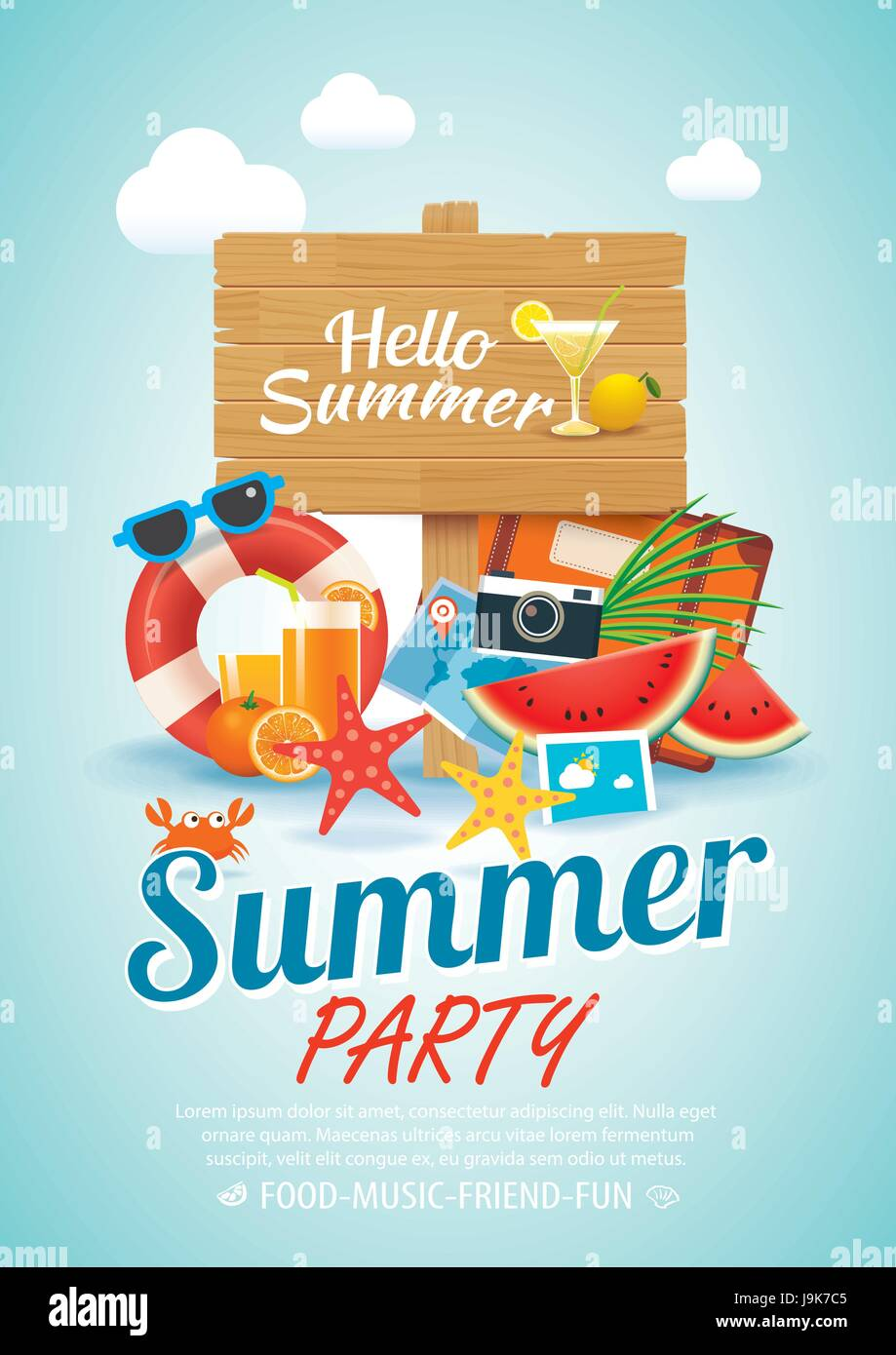 summer beach party invitation poster background elements and wooden ...