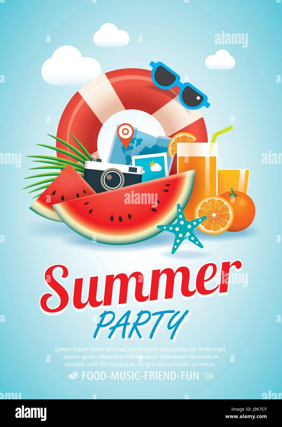 summer beach party invitation poster background and elements in A4 ...