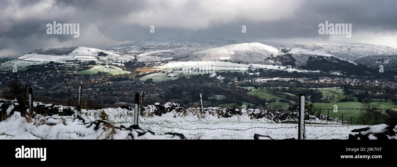 Peak District countryside panorama with snowy landscape. - Stock Image