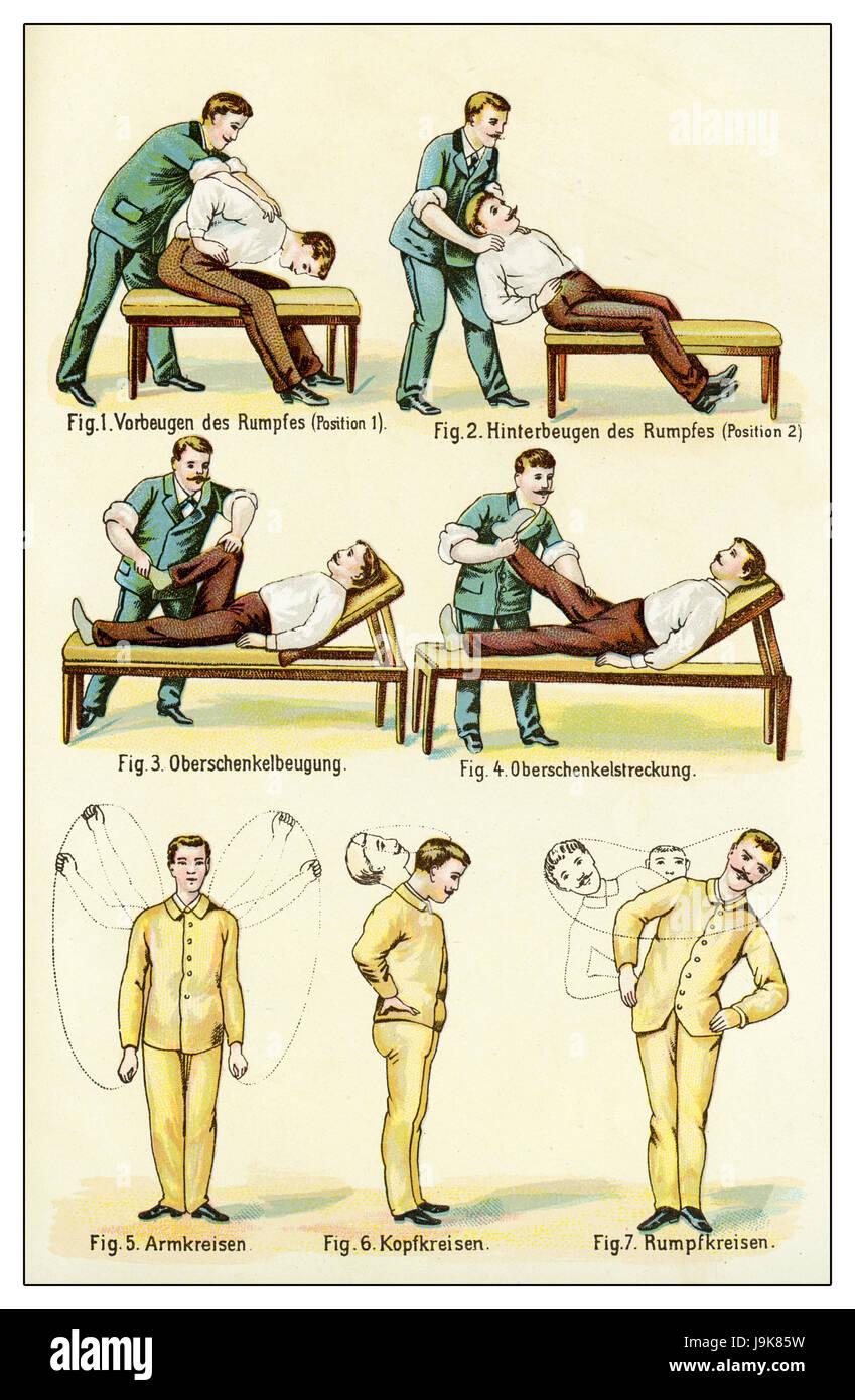 Passive gymnastic, vintage illustration - Stock Image