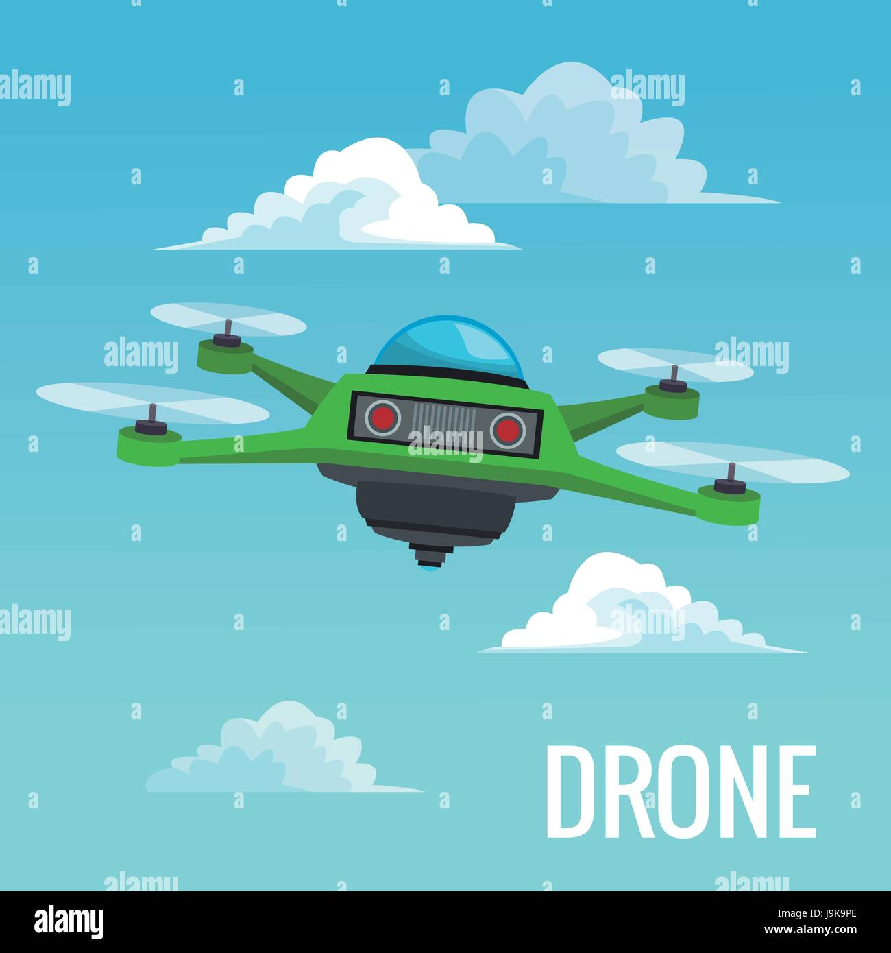 sky landscape background robot drone with four airscrew - Stock Image