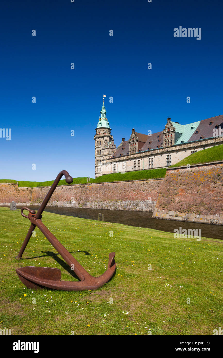 Denmark, Zealand, Helsingor, Kronborg Castle, also known as Elsinore Castle, from Shakespeare's Hamlet - Stock Image