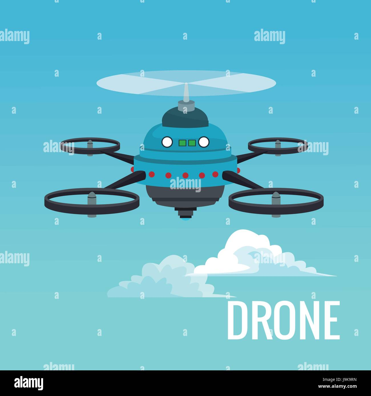 sky landscape background robot drone with five airscrew - Stock Image