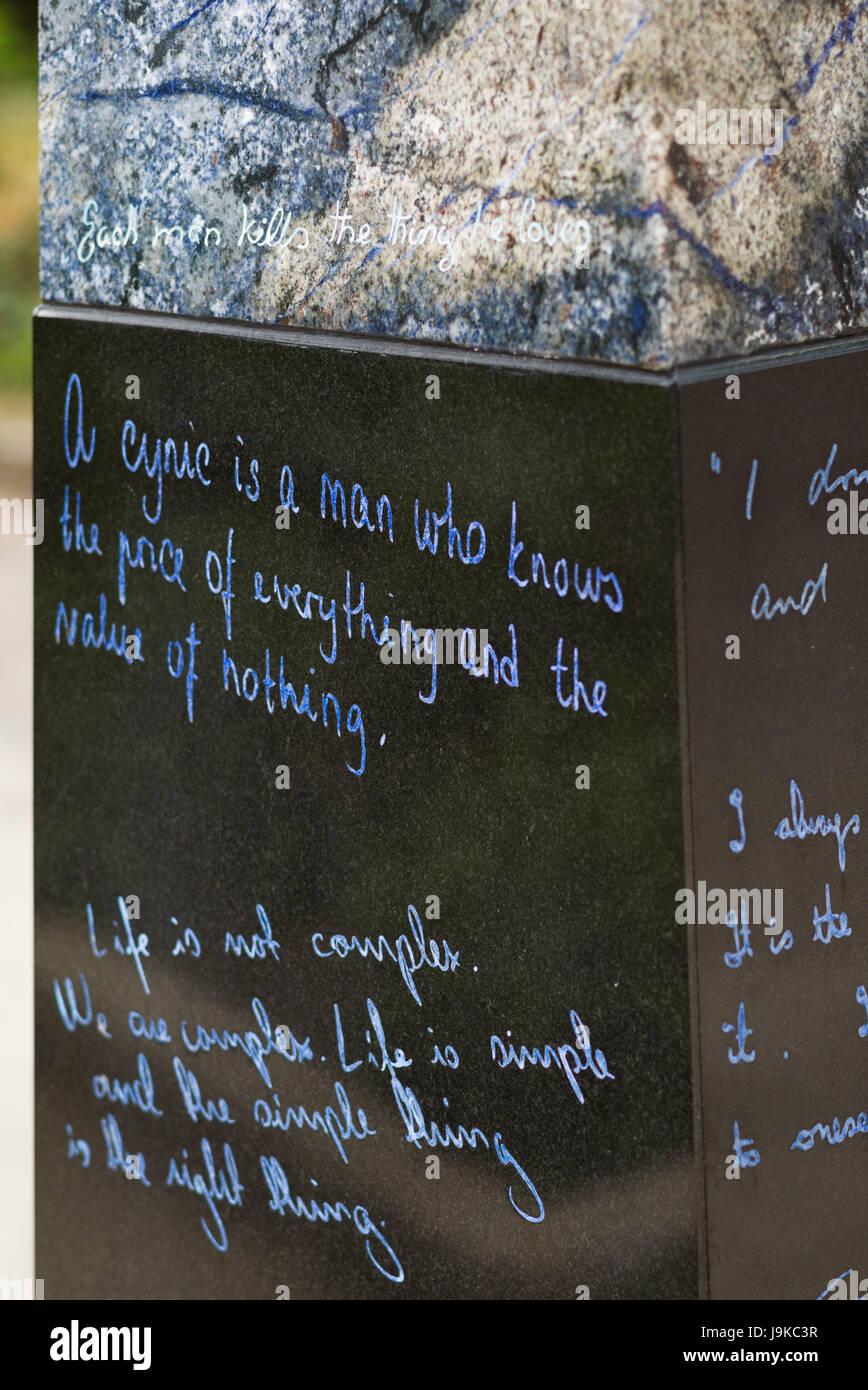 Ireland, Dublin, Merion Square, Oscar Wilde Memorial, quotes ...