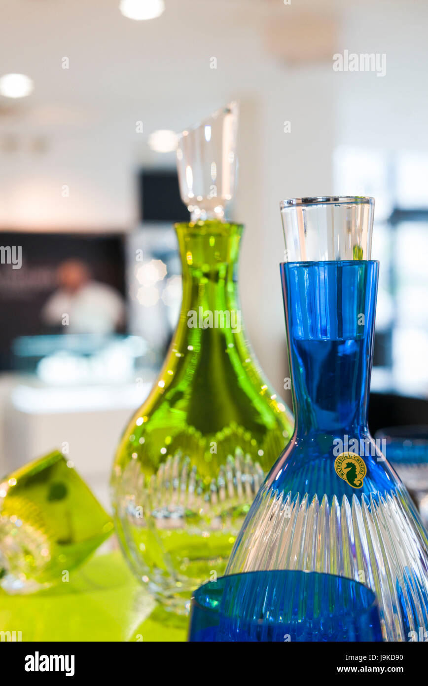 Ireland, County Waterford, Waterford City, Waterford Crystal Complex, Waterford Crystal showroom interior - Stock Image