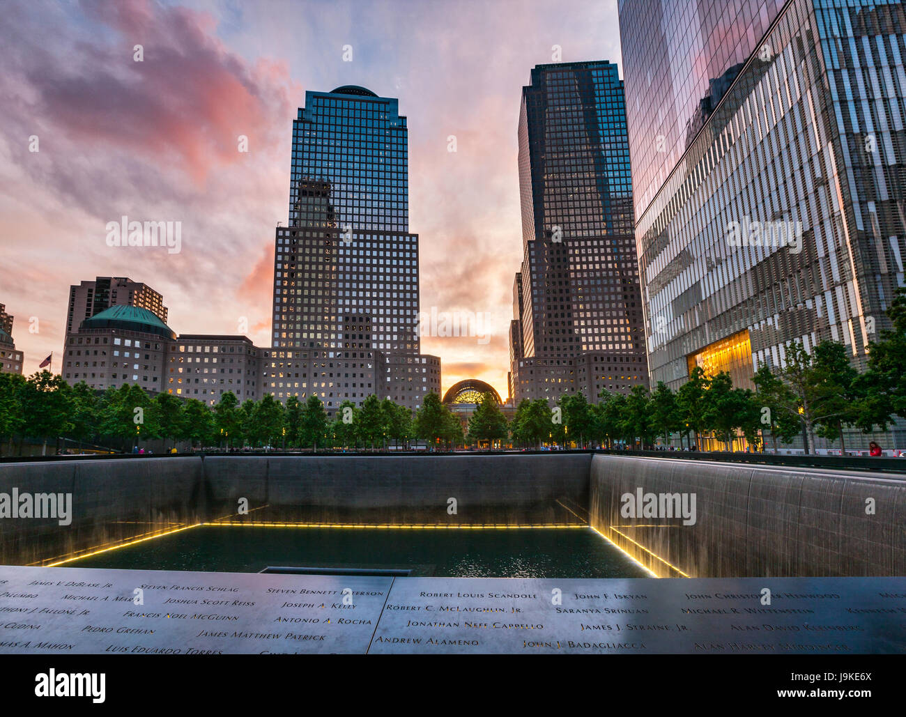 9/11 Memorial, The National September 11 Memorial & Museum at sunset, New York - Stock Image