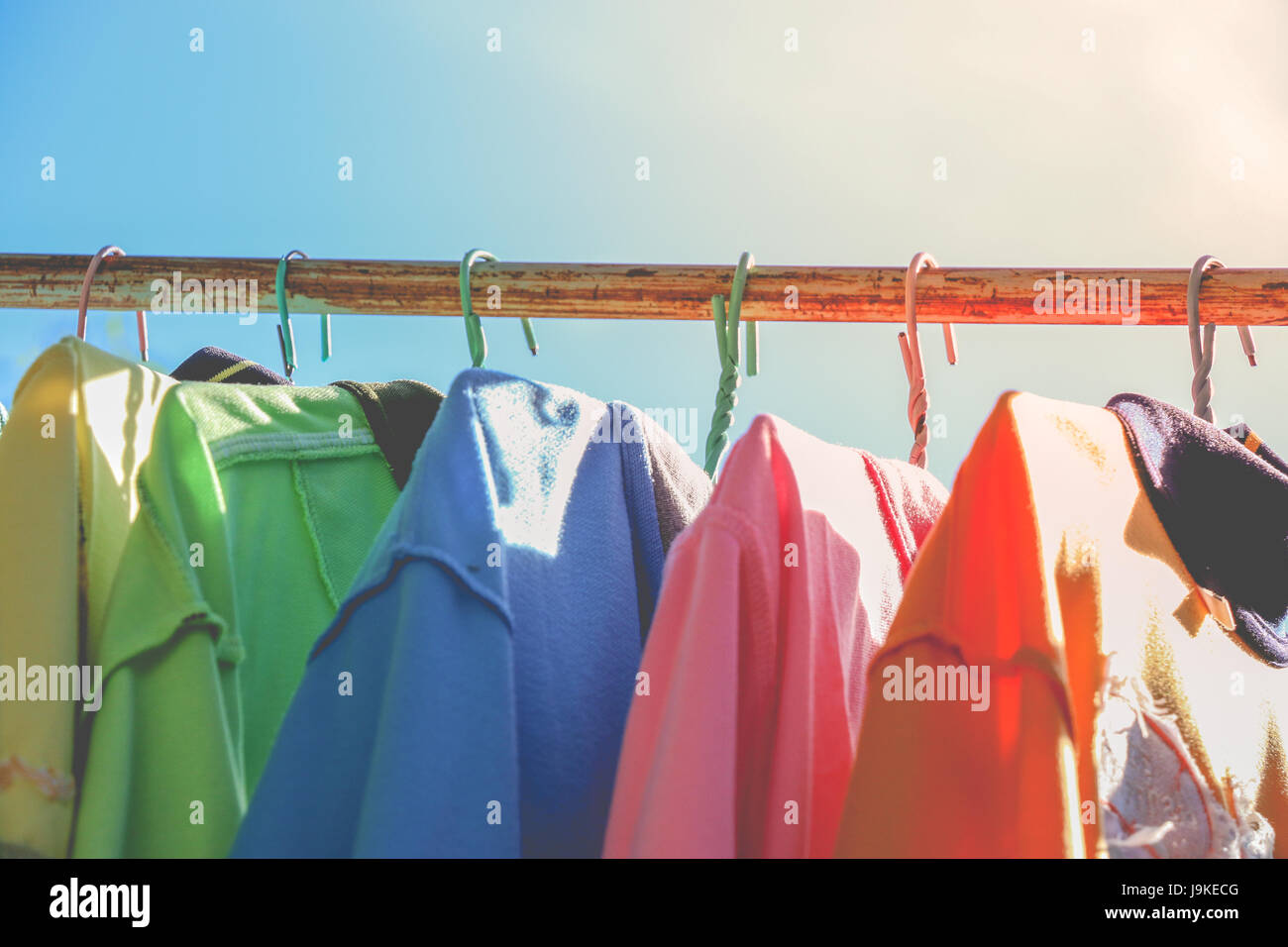Dry cloths and T-Shirt, hang on the clothesline in sunny day Stock ...