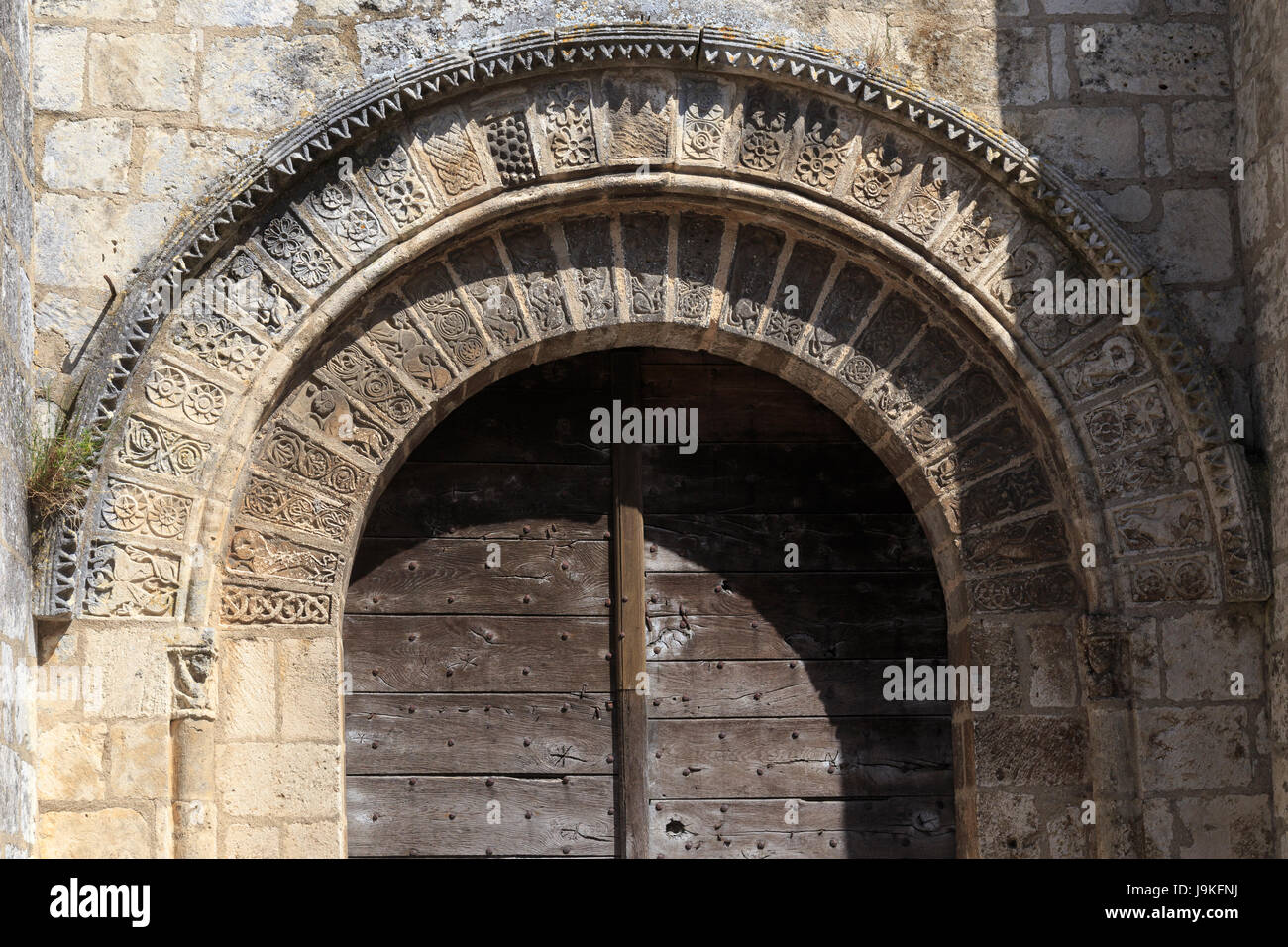 France, Indre, Saint Marcel, the church, the portal - Stock Image