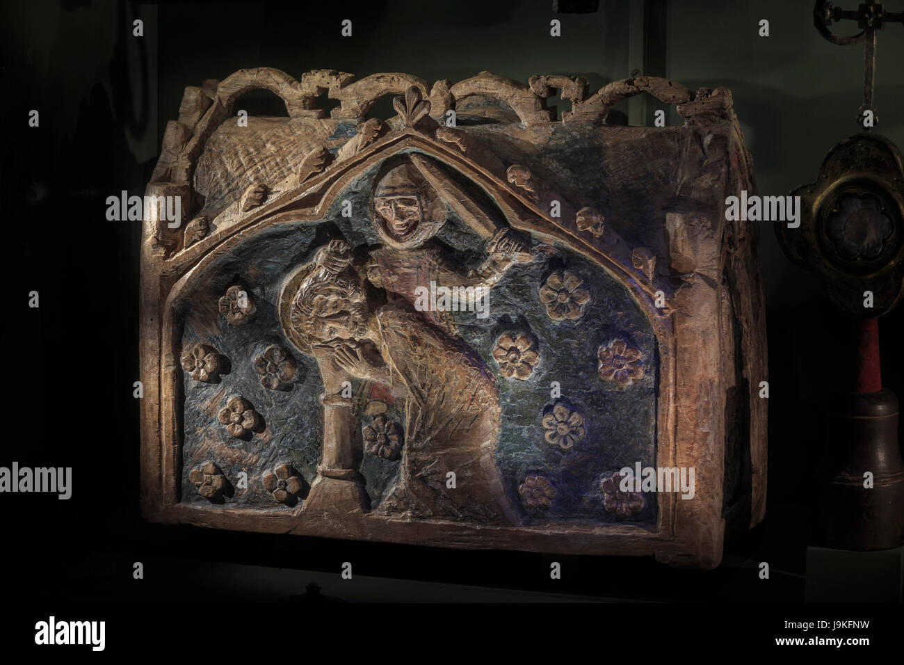 France, Indre, Saint Marcel, the church, the treasure, wooden reliquary of the martyrdom of Saint Marcel - Stock Image