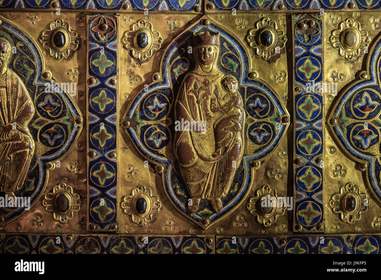 France, Indre, Saint Marcel, the church, the treasure, reliquary in copper and enamel - Stock Image