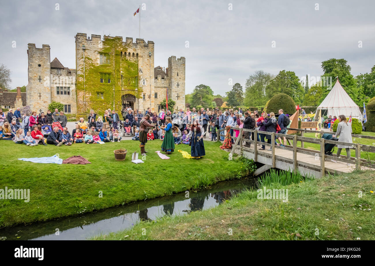 Hever Castle, England -  April 2017 : The crowning of the May Queen at the May Day festival at the Hever Castle, - Stock Image