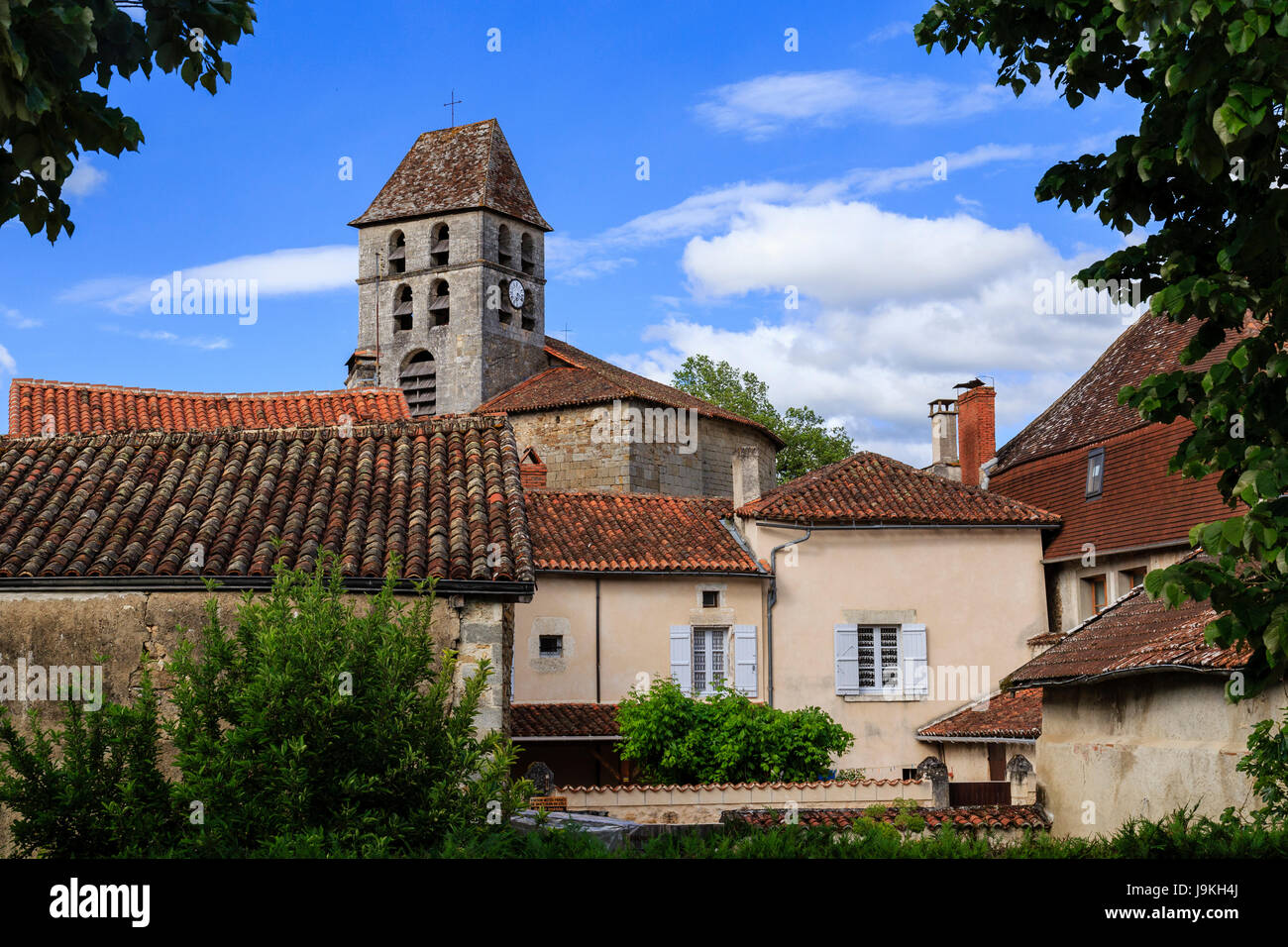 France, Dordogne, Saint Jean de Cole, labelled Les Plus Beaux Villages de France, the village and Saint Jean Bell - Stock Image
