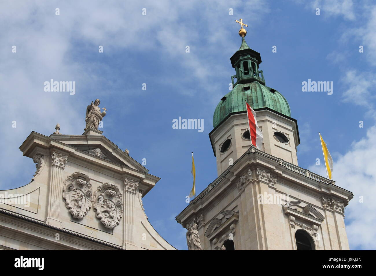 church, cathedral, dome, baroque, old town, building, buildings, detail, - Stock Image